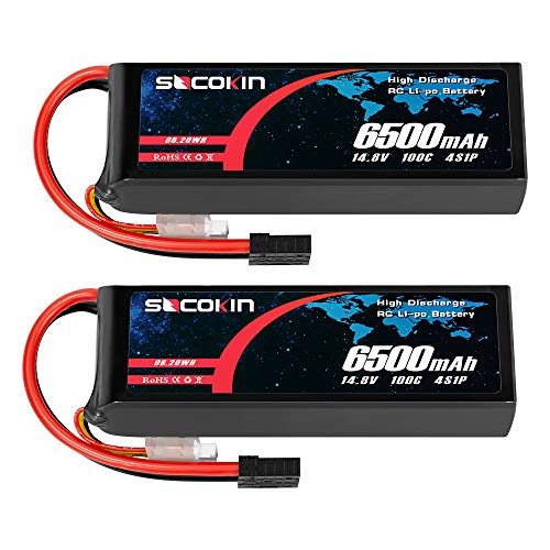Socokin 4S Lipo Battery 14.8V 6500mAh 100C with TR Plug for RC Car Tracxas Slash X-Maxx RC Boat RC Racing Truck Helicopter Airplane(2 Pack)
