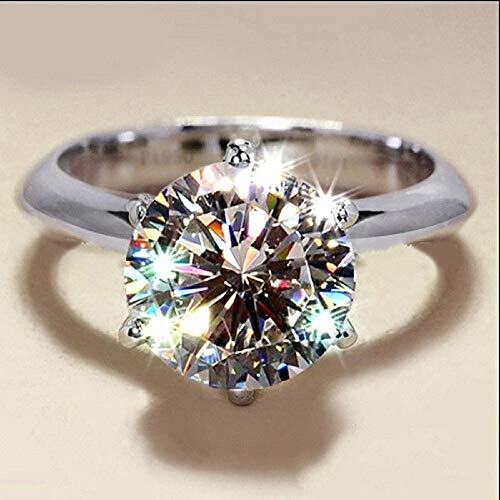 Fashion Simulation S925 Sterling Silver CZ Six Prongs 5 Carat Diamond Engagement Ring Eight Hearts & Arrows 3A Round 12mm Zircon Wedding Ring For Women (6)