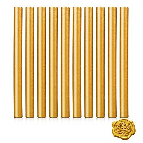 11mm Gold Siegelwachs für Heißklebepistole Klebe Pistole,10Stück Siegellack Wachs Versiegelung Sticks für Retro Vintage Siegel Stempel Brief Hochzeit Einladungen Karten Umschläge Geschenk Verpackung