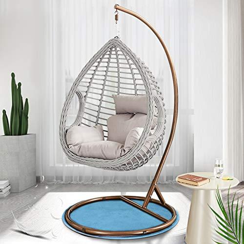 TBDLG Hängender Ei Stuhl mit Ständer, Luxus-Hängesessel Adult Teen Egg Basket Chair, Einzel-Lounge-Sitz für Hof oder Terrasse - 76' Groß,Grau