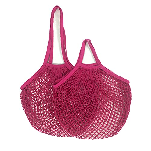 Portable Reusable Grocery Bags for Fruit Vegetable Bag Cotton Mesh String Organizer Handbag Short Handle Net Shopping Bags Tote L-25x35x38cm HotPink17