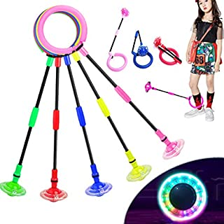 Fine Deal Flashing Jumping Ring Children Colorful Ankle Skip Jump Ropes Sports Swing Ball for Kids Boys Girls Toy