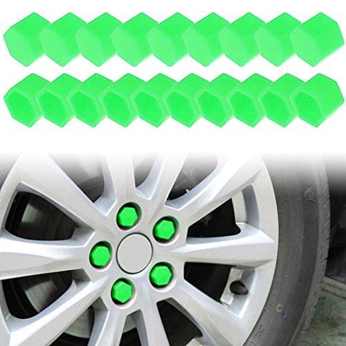 Larcele Silicone Couvercle de Boulon de Roue de Voiture Pneus Vis Capuchon 21mm 20 Pièces LSBHT-01 (Vert)