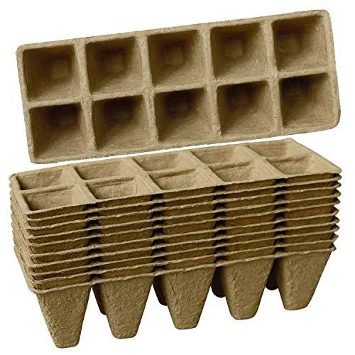 Heritan Bandeja de Inicio de 10 Paquetes de Semillas Kits de Macetas de Turba de 100 Celdas, Macetas de Siembra Compostables Biodegradables con 10 Etiquetas de Plantas