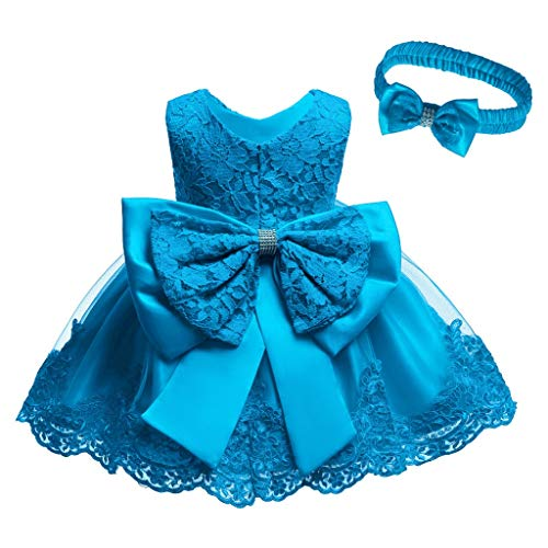 Hochzeit Prinzessin Kleid + Stirnband Set Mädchen Abendkleider Brautjungfernkleid Baby Spitze Bowknot Festlich Partykleid Wedding Formal Tutu Dress + Headband Set Clothes, Himmelblau, 0-3 Monate