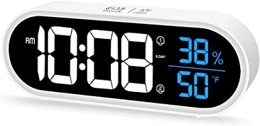Beeasy Réveil Numérique, Horloge Digitale Réveil Miroir LED Portable avec Température/Humidité/2 Alarme/Snooze/40 Musiques, V