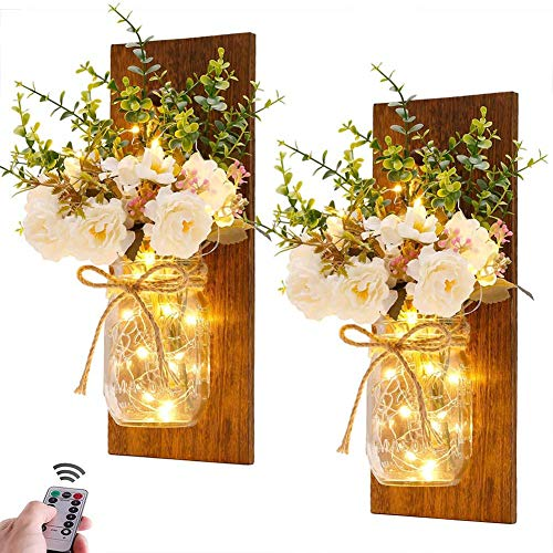 YUI Mason Jar Sconces Wall Decor Rustic Home Decor with Remote Control Silk Hydrangea Dark Brown Wood Board And LED Strip with 20 Fairy Lights, 2 Pack, White Rose