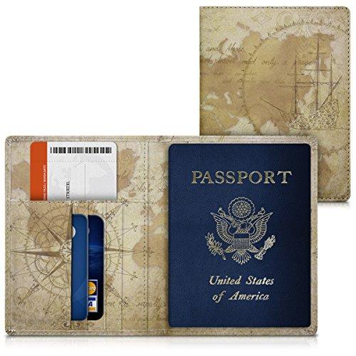 kwmobile Reisepass Hülle mit Kartenfächern - Kunstleder Ausweishülle Passhülle Kartenetui Tasche - Reisepasshülle in Braun Hellbraun