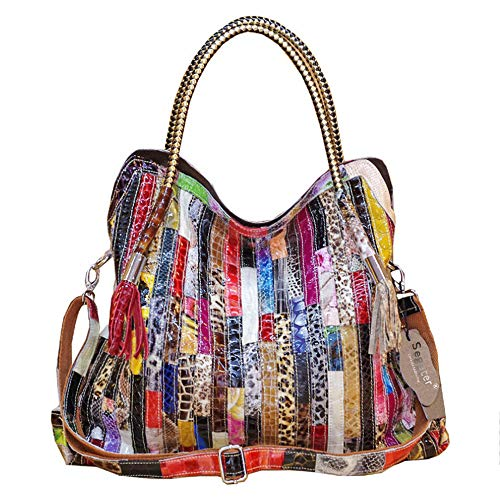 """✿ Material: 100% genuine cow leather big tote.Full Unique 3D color stripe stitching design with shining snake texture.Big tote/handbag with plenty of room.Multicolored yet stylish,detachable shoulder strap. ✿ Size: Approx: (L)17.32""""*x(W )3.93""""x (H) 1..."""