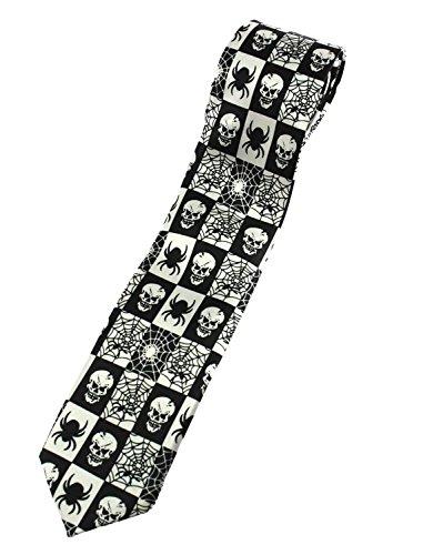 Zac's Alter Ego® Cravate Motif crânes/araignées/toiles d'araignées Noir/blanc