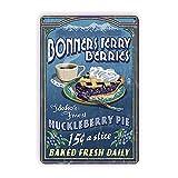 Enseigne en fer métal rétro Blueberry Pie Retro Metal Sign Vintage Tin Sign Backyard Bar Sign for Plaque Poster Cafe Wall Art Gift 12 X 8 INCH