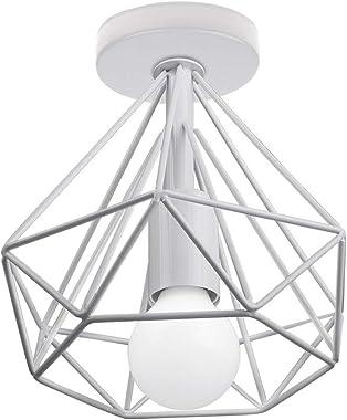 STOEX Plafonnier Industrielle Vintage en Métal LED E27 Cage forme Diamant 20cm pour Salle à Manger,Bar,Chambre,Cuisine et Sal