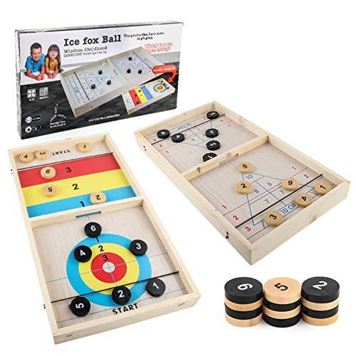 Wenhe Funny Fast Sling Puck - Juego de mesa familiar (2 juegos...