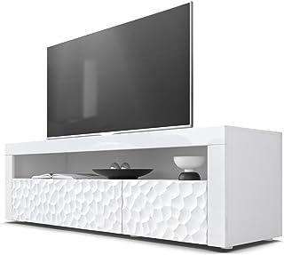 Mesa Baja para TV Valencia Cuerpo en Blanco Mate/Frentes en Blanco de Alto Brillo con Estructura 3D Calipso y Marcos en B...