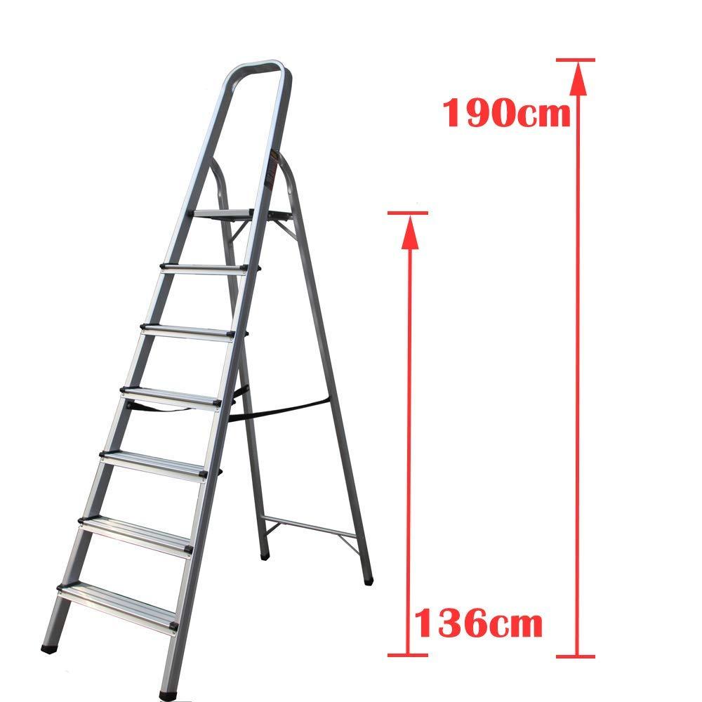 Escalera de 7 peldaños de aluminio plegable, antideslizante, fácil de mover, capacidad de peso de 150 kg: Amazon.es: Bricolaje y herramientas