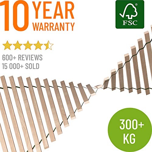 Hansales Rollrost 140x200cm - 300 kg 25 Leisten - Hochwertiger Extra starker Rollattenrost aus echtem Birkenholz - FSC Lattenrost unbehandelt - Lattenrollrost Premium