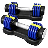 Zenooze Adjustable Dumbbells - Adjustable Dumbbells Set of 2 for At-Home Gym Weight Lifting, Strength Training, Muscle Building & Toning, General Fitness - Weight Selectable Dumbbells - 2.5 lbs to 12.5 lbs