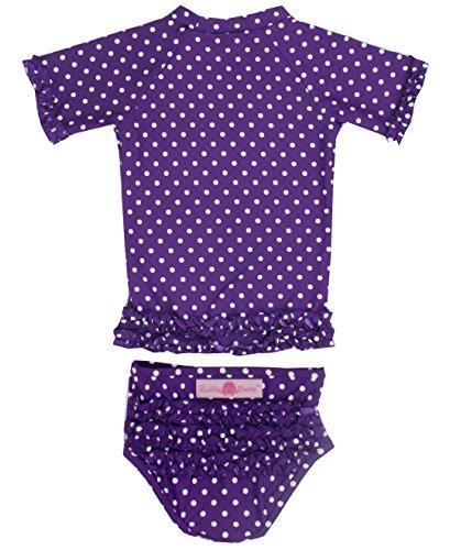 ラッフルバッツRuffleButts 水着 ラッシュガード 安心&キュートを兼ね備えたドット柄フリルベビービキニ 【20色展開】/インポート 可愛い 女の子 ベビー赤ちゃん 2T Grape