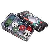 Brrnoo 100Pcs Jetons de Poker, 25Pcs * 4Types Poker Professionnel Texas Hold'em Set avec Une Carte Dealer