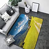 Living Room Bedroom Carpets Nature,Julian Alps Mountain Valle Rural with Wooden Country House Paradise Picture,Lime Green Sky Blue 48'x 60' Contemporary Synthetic Rug