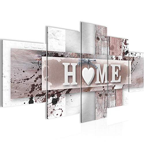 Bilder Home Herz Wandbild Vlies - Leinwand Bild XXL Format Wandbilder Wohnzimmer Wohnung Deko Kunstdrucke Braun 5 Teilig - MADE IN GERMANY - Fertig zum Aufhängen 504553b