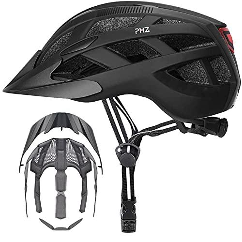 PHZ. Adult Bike Helmet Men's Women's Rear Light Mountain Road Bicycle Helmet with 2 Detachable Visor 2 Inner Pads