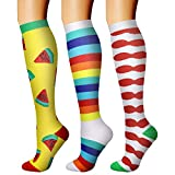 3 Pairs Compression Socks for Women and Men, Best Sports Plantar Fasciitis Arch Support Running Gym Compression Knee High Stamin Socks/Foot Sleeves Best for Running, Sports(hxgua,Large/X-Large)