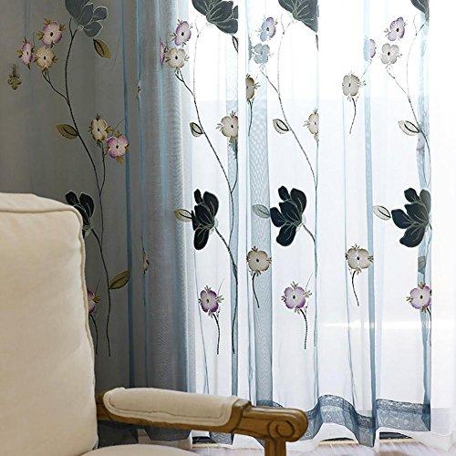 Rideaux et rideaux Sheer Curtains Lotus Broderie Pour Traitements de fenêtre Produit fini Salon Haut à oeillets Un panneau , 1pc(300*270 cm)