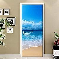 ドアステッカー サンディビーチ海景3D PVC防水浴室のドアステッカーウォールペーパーのホームインテリアリビングルームのベッドルームの自己接着ドア壁画 (Sticker Size : 77x200cm)-77x200厘米