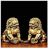 QMZDXH Un Par de Perros Fu Foo Guardian Estatuas de Leones de Bronce, Decoración de Feng Shui Estatua Cultural de Los Leones Beijing Mejor Regalo de Felicitación Inauguración
