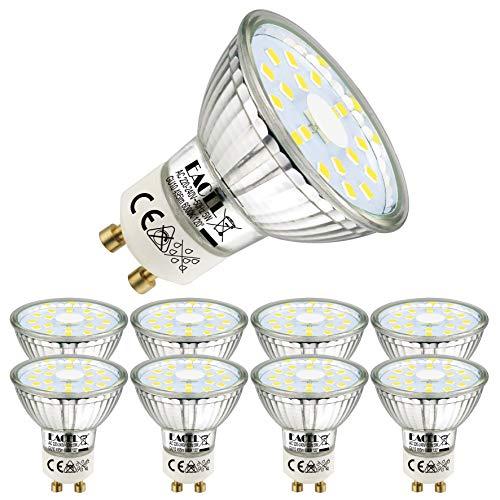 EACLL GU10 LED 5W 6000K Kaltweiss Leuchtmittel 495 Lumen Birnen kann Ersetzen 50W Halogen. AC 230V Kein Strobe Strahler, Abstrahlwinkel 120 ° Spotleuchten, Kaltweiß Licht Reflektor Lampen, 8 Pack