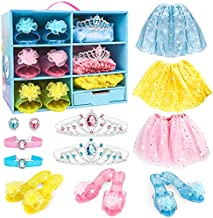 Meland Princess Dress Up - Little Girls Princess Toys with 3 Color Skirts, 3 Pairs of Heel Shoes, 2 Crown Tiaras, Princess Accessories for Little Girls Toddlers for Birthday Christmas Party Favor