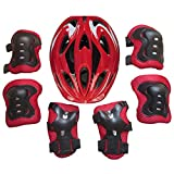 YIFAN 7Piece Kids Helmet, Bike Bicycle Helmet, Ice Skates Balance Car Protective Gear Set(Knee Elbow Pads Wrist Guards) for 5-13 Year-Old Children - Red