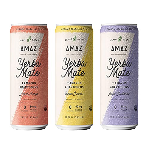 AMAZ Organic Sparkling Yerba Mate Tea with Adaptogens for Natural...
