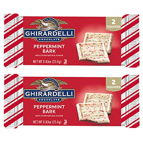 Ghirardelli (2) Bars Peppermint Bark Candy Bars - Natural Flavors - 2 Squares per Pack - Holiday & Christmas Candy - Net Wt. 0.83 oz each