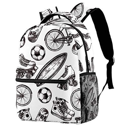 Laptop-Rucksack mit Fußball-Rollschuh-Muster, lässig, langlebig, für Herren und Damen, für Arbeit, Büro, College, Studenten, Geschäftsreisen, Schultasche, Büchertasche.