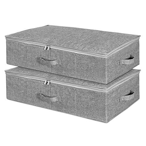 SimpleHome Pure | große unterbett Aufbewahrungstasche aus Sackleinen | Grau I 70 x 43 x 18 cm, 2er Set.