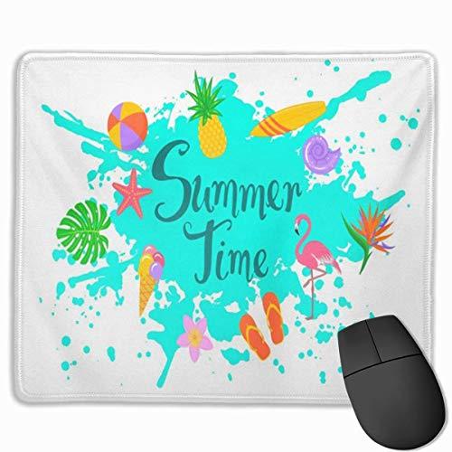 Mauspad, Schreibtisch-Mauspad, Mausmatte Sommerzeit mit Paint Splatter Handgeschriebener Text und Flip Flops Monstera Bird