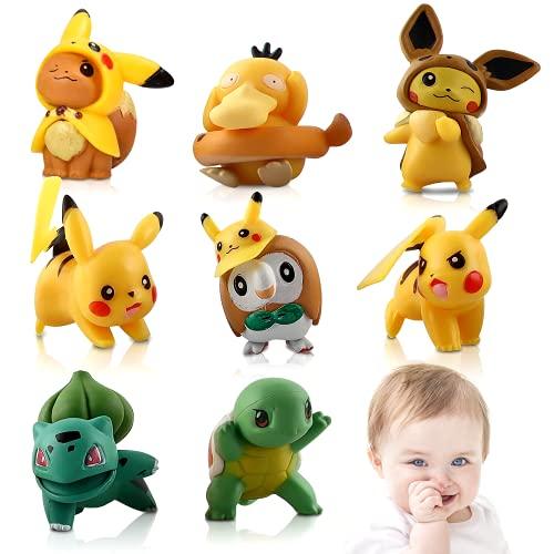 Cake Topper, 8 pcs Pikachu Mini Figuras, Pikachu Toys, Pikachu Figures, Adornos para Tartas Niños Mini Juguetes Baby Shower Fiesta de Cumpleaños Pastel Decoración Suministros