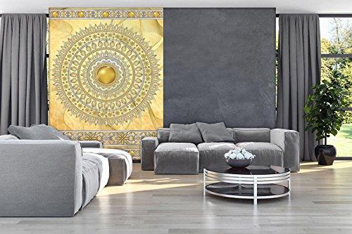 DekoShop Fototapete Mandala in Gold Wandtapete - P4A (254cm. x 184cm.) Moderne Wanddeko Design Tapete AMD10117P4A Abstraktion und Kunst Wohnzimmer Schlafzimmer