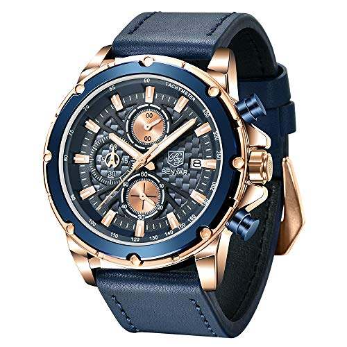 BENYAR Herren Uhr Chronograph Analogue Quartz Uhr Männer Großes blau Zifferblatt 3AMT Wasserdicht Business Military Sport Armbanduhr mit Leder Armband Elegant Geschenk für männer