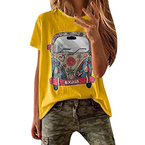 VEMOW Camisetas Mujer Verano Primavera Moda para Chicas Tallas Grandes Imprimir De Manga Corta Blusa Cuello Redondo Y Manga Corta Blusa Superior Informal Polos Tops 2019 Nueva(Amarillo,XL)