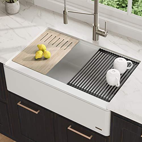 Kraus KGF1-33White Bellucci 33-inch CeramTek Granite Quartz Composite Farmhouse Flat Apron Front Single Bowl Kitchen Sink with Cutting Board, 33 Inch, White