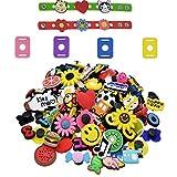 Etern 50 Stück PVC Schuh Charms Karikatur Schuhe Charms, Verschiedene Schuh-Charms Passend mit 4 Schnürsenkel Adapter und 2 Armband, für Partydekoration, Kinder