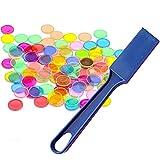 Kit de Juguetes Montessori 1pcs Varita magnética + 100pcs Chip de Bingo de Anillo de Metal Redondo Transparente para niños Juguetes de Aprendizaje en el Aula