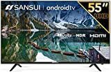 SANSUI 55 Inch Smart TV UHD Android LED 4K TV HDR with Dolby Sound Voice Remote, Led TV Supplies Google Assistant and Build-in Chromecast, Small TV Perfect for Family (2021 Model 55 Inch TV)