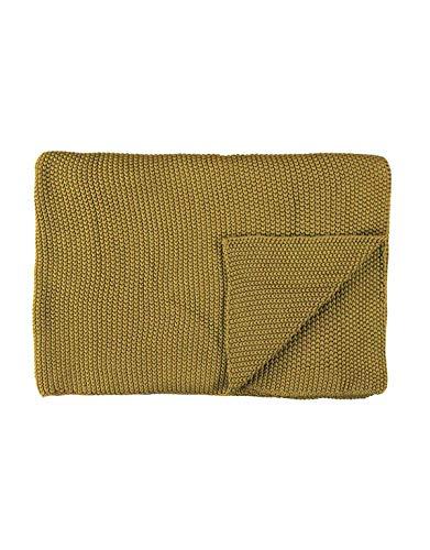Marc O Polo Strick Dekokissen Plaid Nordic Knit Oil Yellow Plaid 130x170 cm