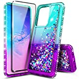 E-Began Glitter Case for Samsung Galaxy S20, Galaxy S20 5G with Screen Protector (Soft Full Coverage), Sparkle Flowing Liquid Bling Diamond, Durable Girls Cute Phone Case (6.2' 2020) -Aqua/Purple