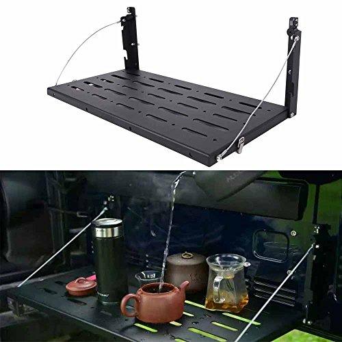 Multi-Purpose Tailgate Table Rear Foldable Back Shelf Compatible with jeep Wrangler JK JKU 1996-2017 2/4 Door Rubicon Sahara sport Accessories Cadillac Lexus GX400 75lbs/34kg 【Aluminum Alloy】