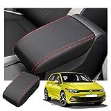 RUIYA V W Golf Mk8 Apoyabrazos para Coche Reposabrazos Caja Cuero Cubierta Consola central almohadilla Resistente a Rayones Interior Accesorios (Rojo)